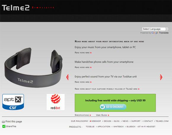 Telme2 Bluetooth headset