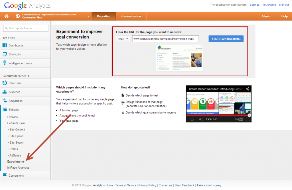 step1: find the Content Experiments link in Google Analytics