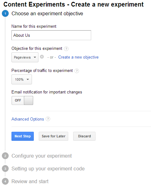 step2 basic settings in Google's Content Experiments