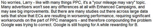 PPC enhanced campaigns disagreement
