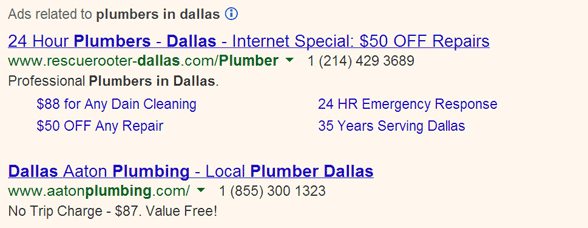 Dallas plumbers AdWords