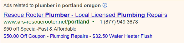oregon plumber adwords
